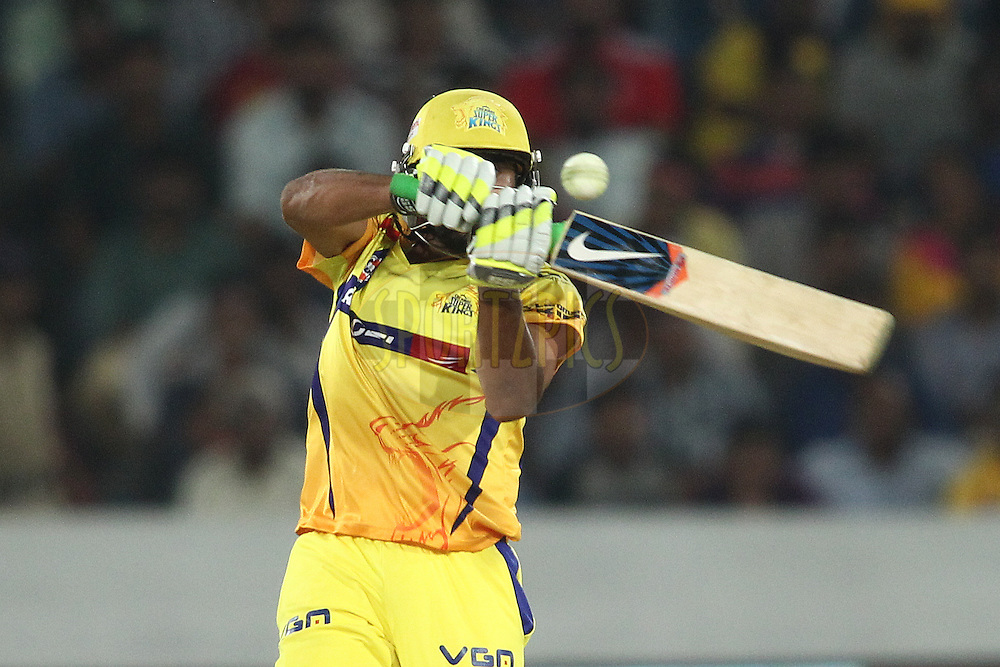 Ravindra Jadeja of the Chennai Super Kings attempts to pull a delivery during the second semi final match of the Oppo Champions League Twenty20 between the Kings XI Punjab and the Chennai Superkings held at the Rajiv Gandhi Cricket Stadium, Hyderabad, India on the 2nd October 2014<br /> <br /> Photo by:  Shaun Roy / Sportzpics/ CLT20<br /> <br /> <br /> Image use is subject to the terms and conditions as laid out by the BCCI/ CLT20.  The terms and conditions can be downloaded here:<br /> <br /> http://sportzpics.photoshelter.com/gallery/CLT20-Image-Terms-and-Conditions-2014/G0000IfNJn535VPU/C0000QhhKadWcjYs