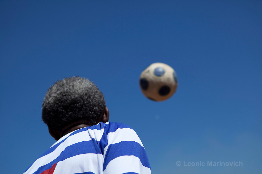 "21 February 2010, Sharpeville, South Africa. Simon ""Bull"" Lehoko, voted one of the top 50 football players of all time, with his team ""Soccer Legends""."