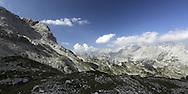 Mountain view, on the south approach to Maja Jezerce, Albania.