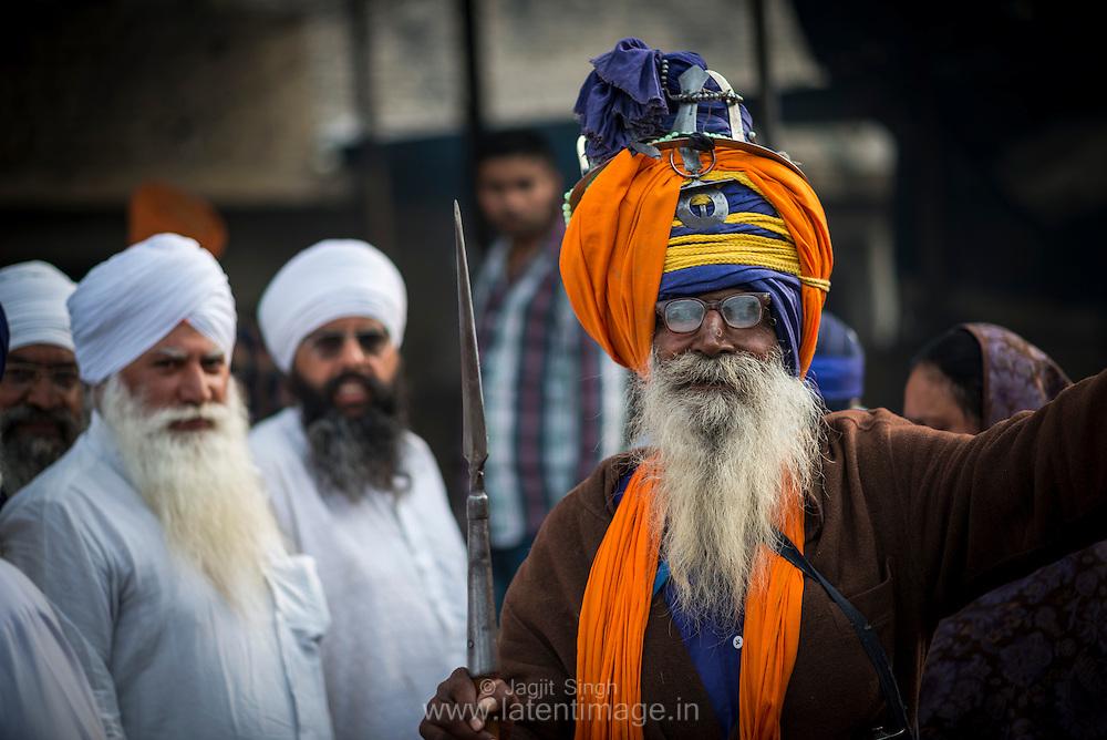 Elderly Nihang at Hola Mohalla.