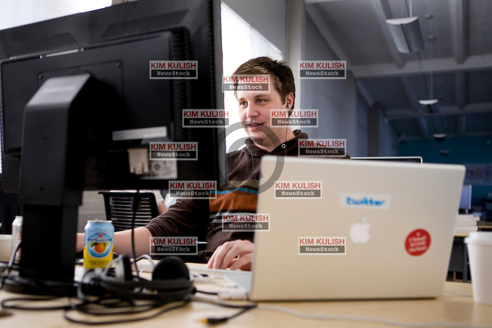 Andrew Lorek works at his desk at Twitter, Inc  in  their San Francisco, California headquarters.   Photo by Kim Kulish