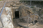 tHE RITUAL bATH (mIKVEH) AT Hurbat Itri (Horvat Ethri), ruins of a Jewish village from the Second Temple period,  Judean Hills, Israel