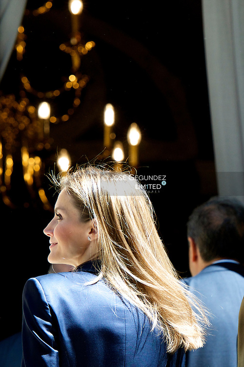 King Felipe VI of Spain and Queen Letizia of Spain attend a Meeting with representatives of associations and foundations of victims of terrorism at Palacio de Zurbano on June 21, 2014 in Madrid.<br /> This event is the first like King Felipe VI and Queen Letizia.
