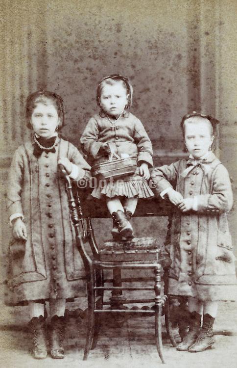 portrait three little children late 1800s