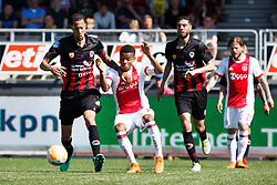 (L-R) Ryan Koolwijk of Excelsior, David Neres of Ajax, Hicham Faik of Excelsior, Lasse Schone of Ajax during the Dutch Eredivisie match between sbv Excelsior Rotterdam and Ajax Amsterdam at Van Donge & De Roo stadium on May 06, 2018 in Rotterdam, The Netherlands