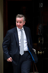 © Licensed to London News Pictures. 08/09/2015. London, UK. Lord Chancellor and Secretary of State for Justice MICHAEL GOVE leaving 10 Downing Street in London following cabinet meeting. Photo credit: Ben Cawthra/LNP