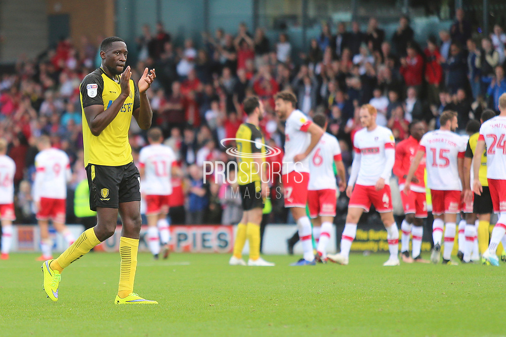 Burton Albion forward Lucas Akins (10) applauds the Brewers fans after the final whistle during the EFL Sky Bet League 1 match between Burton Albion and Rotherham United at the Pirelli Stadium, Burton upon Trent, England on 17 August 2019.