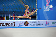 Mateva Mariya during qualifying at clubs in Pesaro World Cup at Adriatic Arena on 27 April 2013. Mariya was born on June 1,1994 in Burgas. She is a Bulgarian individual rhythmic gymnast.