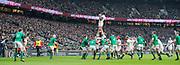 Twickenham, United Kingdom.   Natwest 6 Nations : England vs Ireland. Maro Itoje collects the line out ball.  RFU Stadium, Twickenham, England, <br /> <br /> Saturday   17.03.18<br /> <br /> [Mandatory Credit; Peter Spurrier/Intersport-images]