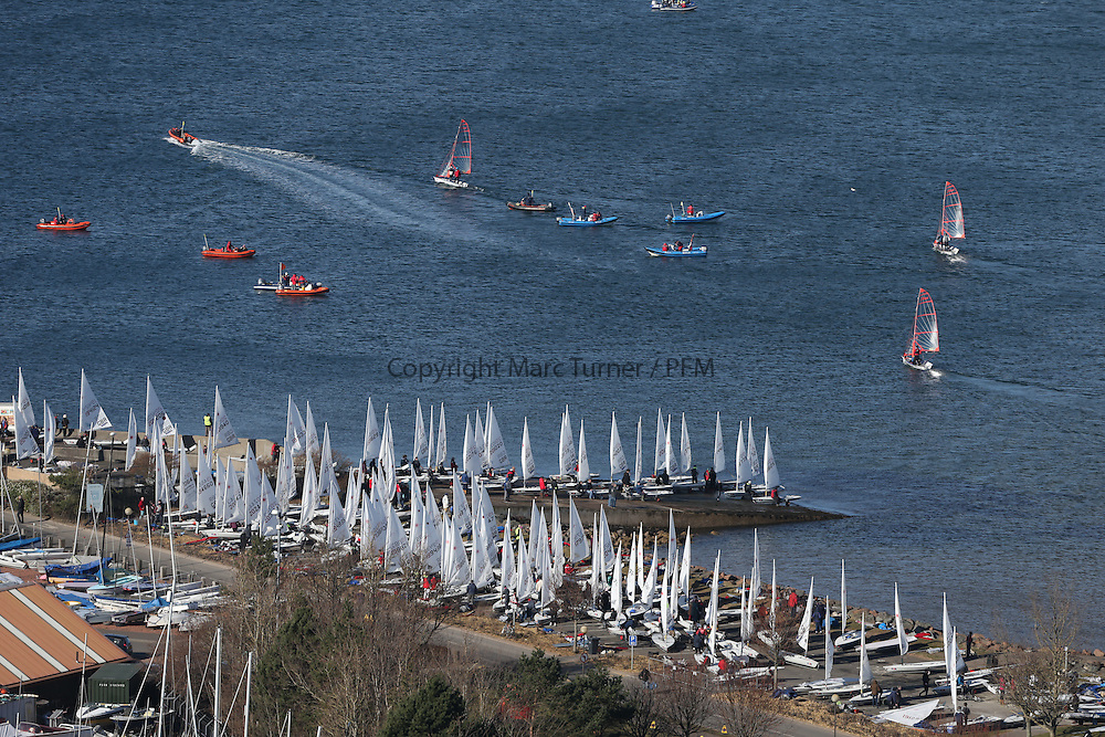 Image Credit Marc Turner.Day 3 RYA Youth National Championships 2013 held at Largs Sailing Club, Scotland from the 31st March - 5th April. .Sailors Launching.