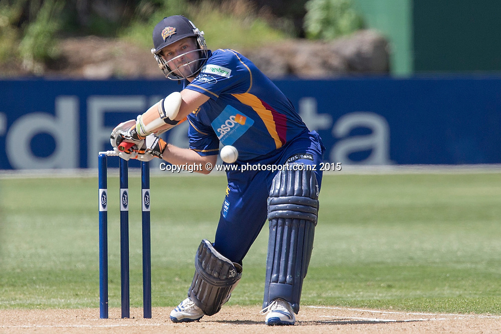 Volts` wicketkeeper Derek de Boorder bats in the Auckland Aces v Otago Volts, One Day Ford Trophy Cricket Match, Eden Park, Auckland, New Zealand, Friday, January 02, 2015. Photo: David Rowland/Photosport