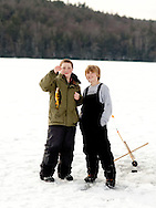 Ice fishing on Russell Pond in Russell, Massachusetts. (Photo by Robert Falcetti)