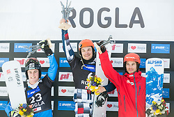 Second placed Mirko Felicetti of Italy, winner Vic Wild of Russia and second placed Zan Kosir of Slovenia during flower ceremony after the Men's Parallel Giant Slalom at FIS Snowboard World Cup Rogla 2015, on January 31, 2015 in Course Jasa, Rogla, Slovenia. Photo by Vid Ponikvar / Sportida