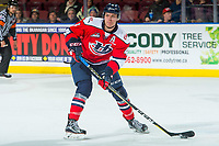 KELOWNA, CANADA - JANUARY 17: Tate Olson #4 of the Lethbridge Hurricanes skates with the puck against the Kelowna Rockets on January 17, 2018 at Prospera Place in Kelowna, British Columbia, Canada.  (Photo by Marissa Baecker/Shoot the Breeze)  *** Local Caption ***