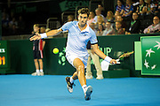 Guido Pella of Argentina in action during the Davis Cup Semi Final between Great Britain and Argentina at the Emirates Arena, Glasgow, United Kingdom on 16 September 2016. Photo by Craig Doyle.
