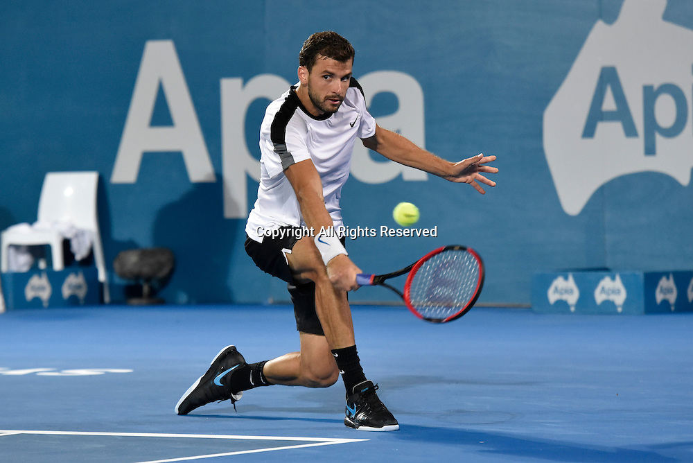 16.01.16 Sydney, Australia. Grigor Dimitrov (BUL) in action against Viktor Troicki (SRB) during their mens singles final match at the Apia International Sydney. Troicki won the final 2-6,6-1,7-6.