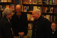 "Author Pat Conroy (right), appearing at Off Square Books to sign and talk about his book ""My Reading Life"", talks with Ole Miss Chancellor Dan Jones (left) and store owner Richard Howorth in Oxford, Miss. on Wednesday, November 3, 2010."