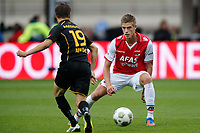 ALKMAAR - 16-09-2012 - voetbal Eredivisie - AZ - Roda JC, AFAS Stadion, 4-0, debuut van AZ speler Markus Henriksen (r), Roda JC Kerkrade speler Amin Affane (l).