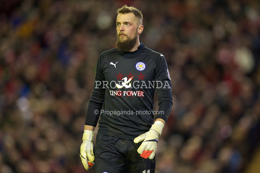 LIVERPOOL, ENGLAND - Thursday, New Year's Day, January 1, 2015: Leicester City's goalkeeper Ben Hamer in action against Liverpool during the Premier League match at Anfield. (Pic by David Rawcliffe/Propaganda)