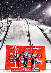 12.03.2019, Lysgards Schanze, Lillehammer, NOR, FIS Weltcup Skisprung, Raw Air, Lillehammer, Einzelbewerb, Herren, Siegerehrung, im Bild 2. Platz Robert Johansson (NOR), Sieger Stefan Kraft (AUT), 3. Platz Ryoyu Kobayashi (JPN) // 2nd placed Robert Johansson of Norway Winner Stefan Kraft of Austria 3rd placed Ryoyu Kobayashi of Japan during the the winner ceremony of men's individual competition of the 2nd Stage of the Raw Air Series of FIS Ski Jumping World Cup at the Lysgards Schanze in Lillehammer, Norway on 2019/03/12. EXPA Pictures © 2019, PhotoCredit: EXPA/ JFK