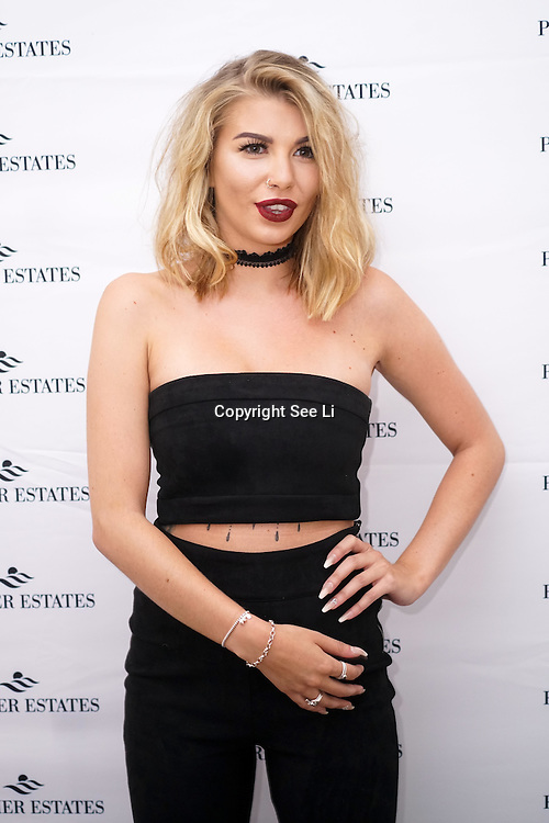 London,England,UK, 11th Aug 2016 : Olivia Buckland from Love Island attend the wine retailer hosts summer party to sample its award-winning sparkling wine range at Icetank Studios, Lo0ndon,UK. Photo by See Li