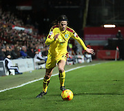 Burnley midfielder George Boyd running down the wing during the Sky Bet Championship match between Brentford and Burnley at Griffin Park, London, England on 15 January 2016. Photo by Matthew Redman.
