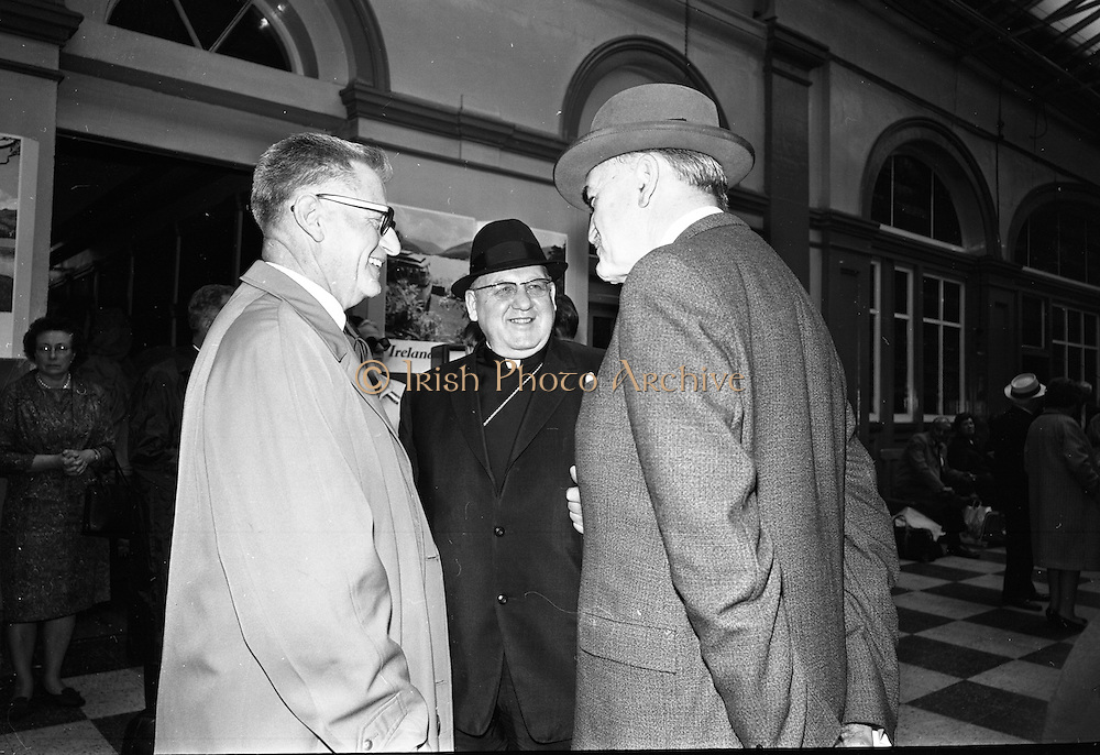 17/07/1967<br /> 07/17/1967<br /> 17 July 1967<br /> Cardinal John Cody, Archbishop of Boston arrives at Heuston Station, Dublin. Image shows Cardinal Cody of Chicago (centre) chatting with An Tanaiste Frank Aiken,  (right)Minister for External Affairs and William Dwyer of Dublin at Heuston train station.