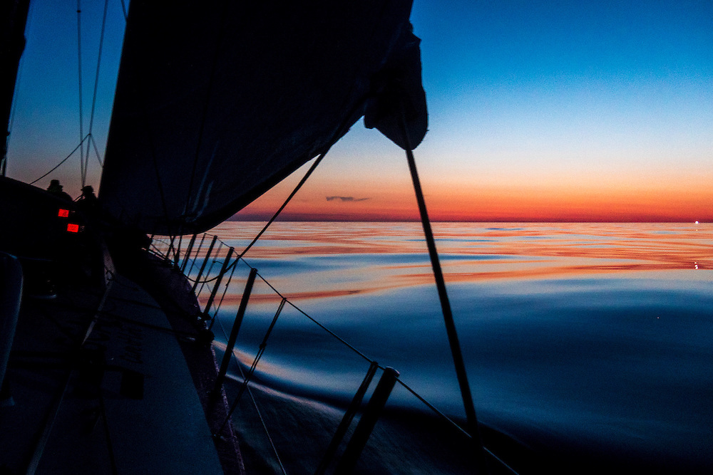 May 7, 2015. Leg 6 to Newport onboard Team SCA. Day 17. The final sunrise heading into Newport.