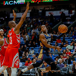 Jan 26, 2018; New Orleans, LA, USA; New Orleans Pelicans guard Rajon Rondo (9) passes as Houston Rockets guard Chris Paul (3) defends during the second half at the Smoothie King Center. Pelicans defeated the Rockets 115-113. Mandatory Credit: Derick E. Hingle-USA TODAY Sports