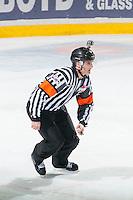 KELOWNA, CANADA - FEBRUARY 9: Steve Papp, referee, skates on February 9, 2015 at Prospera Place in Kelowna, British Columbia, Canada.  (Photo by Marissa Baecker/Shoot the Breeze)  *** Local Caption *** Steve Papp;