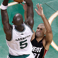 03 June 2012: Boston Celtics power forward Kevin Garnett (5) takes a jumpshot over Miami Heat small forward Shane Battier (31) during the Boston Celtics 93-91 overtime victory over the Miami Heat, in Game 4 of the Eastern Conference Finals playoff series, at the TD Banknorth Garden, Boston, Massachusetts, USA.