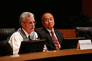 Daniel Bobay discusses his goals as Mayor as current mayor Jose Esteves looks on during the Milpitas City Council Forum at Milpitas City Hall in Milpitas, California, on October 9, 2014. (Stan Olszewski/SOSKIphoto)