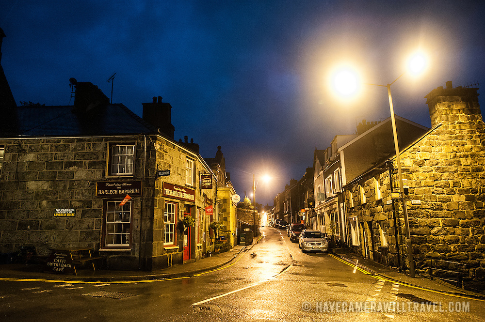 Night shot of a street in the historic town of Harlech in northwestn Wales's Snowdonia region.