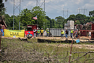 Protest at a Bayou Bridge pipeline site in Maurice, LA by opponets from the L'eau est la vie Camp.