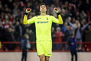 Nottingham Forest goalkeeper Costel Pantilimon (1) celebrates after the final whistle after the EFL Sky Bet Championship match between Nottingham Forest and Derby County at the City Ground, Nottingham, England on 25 February 2019.