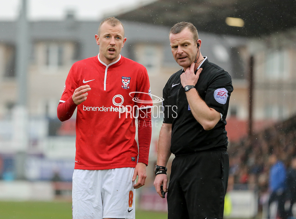 Luke Summerfield during the Sky Bet League 2 match between York City and Cheltenham Town at Bootham Crescent, York, England on 3 April 2015. Photo by Simon Davies.