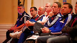 CHEPSTOW, WALES - Friday, May 23, 2014: Wales coach Osian Roberts, Everton manager Roberto Martinez and Chelsea's youth coach Adi Viveash during the Football Association of Wales' National Coaches Conference 2014 at the St. Pierre Marriott Hotel & Country Club. (Pic by David Rawcliffe/Propaganda)