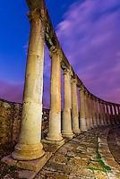 Oval Plaza, Greco-Roman ruins, Jerash, Jordan.