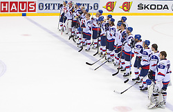 Team of Slovakia after the ice-hockey match between Slovakia and Germany of Group A of IIHF 2011 World Championship Slovakia, on May 1, 2011 in Orange Arena, Bratislava, Slovakia. Germany defeated Slovakia 4-3. (Photo By Vid Ponikvar / Sportida.com)