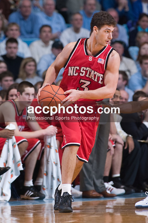 2005 February 03: North Carolina State Wolfpack forward Ilian Evtimov (3) during a 95-71 loss to the North Carolina Tar Heels in Chapel Hill, NC..