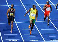 Friidrett , 16. august 2009 , , VM:  100m finale: v.l. Tyson Gay USA, Usain Bolt Jamaika (Weltmeister in 100m, mit neuer Weltrekordzeit von 9.58 Sekunden), Daniel Bailey <br /> <br /> Norway only