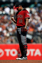 SAN FRANCISCO, CA - SEPTEMBER 17: Taijuan Walker #99 of the Arizona Diamondbacks reacts after walking in a running during the fifth inning against the San Francisco Giants at AT&T Park on September 17, 2017 in San Francisco, California. The San Francisco Giants defeated the Arizona Diamondbacks 7-2. (Photo by Jason O. Watson/Getty Images) *** Local Caption *** Taijuan Walker