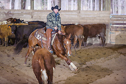 April 30 2017 - Minshall Farm Cutting 2, held at Minshall Farms, Hillsburgh Ontario. The event was put on by the Ontario Cutting Horse Association. Riding in the Open Class is Troy Donaldson on Xrey owned by Rosalee Munch.