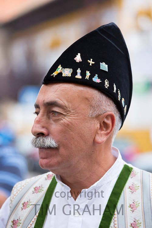 Spanish man attending traditional fiesta at Villaviciosa in Asturias, Northern Spain