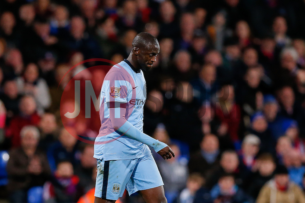 Yaya Toure of Manchester City looks dejected - Photo mandatory by-line: Rogan Thomson/JMP - 07966 386802 - 06/04/2015 - SPORT - FOOTBALL - London, England - Selhurst Park - Crystal Palace v Manchester City - Barclays Premier League.