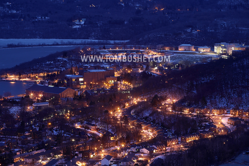 West Point, New York - A view of the United States Military Academy at West Point at twilight from the scenic overlook on Route 9W on Feb. 20, 2010. The Hudson River is visible at the upper left. © Tom Bushey / The Image Works
