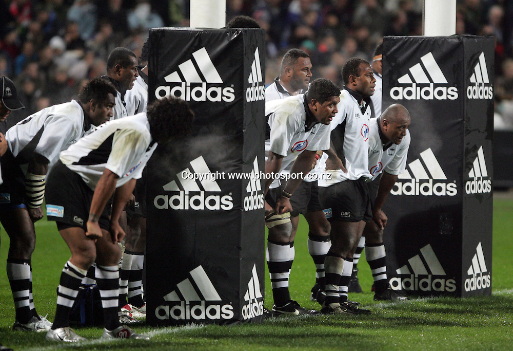 Fiji line up under their posts during the All Blacks v Fiji test match played at Albany Stadium in Auckland on Friday 10 June, 2005. The All Black won 91-0. Photo: Michael Bradley/PHOTOSPORT