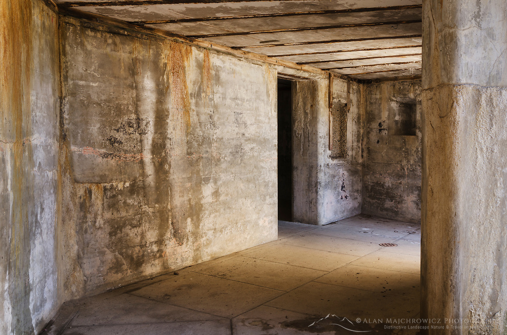 Details of concrete battery bunkers at Fort Casey State Park, Washington