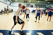 Mount Mansfield's Wyatt Faberge (24) passes the ball inbounds during the unified basketball game between Colchester and Mount Mansfield at MMU High School on Monday afternoon April 25, 2016 in Jericho. (BRIAN JENKINS/for the FREE PRESS)