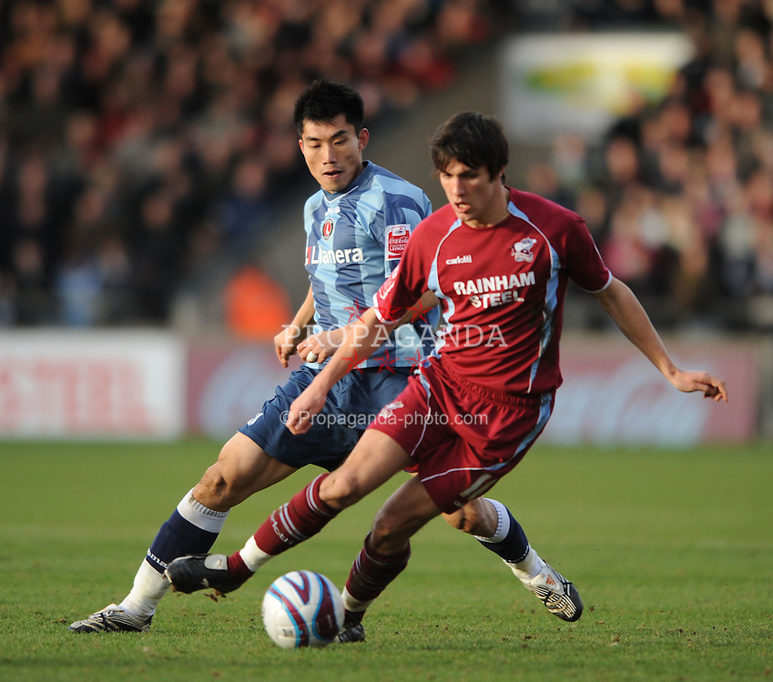 SCUNTHORPE, ENGLAND - Saturday, February 2, 2008: Charlton Athletic's Zheng Zhi in action against Scunthorpe United during the League Championship match at Glanford Park. (Photo by David Rawcliffe/Propaganda)